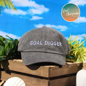 Goal Digger Dad Hat, Goals embroidered hat, inspiration custom hat,Funny Saying, Gift For Friend