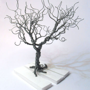 wire tree - silver plated copper wire - minimalistic decor