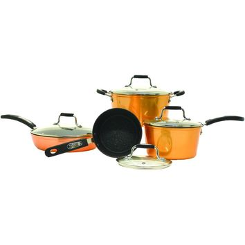 Starfrit The Rock By Starfrit 8-piece Copper Cookware Set With Bakelite Handles