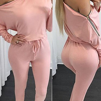 Long Sleeve Oblique Zipped Shoulder Tie-Waist Jumpsuit