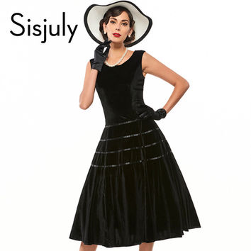 Sisjuly vintage dress sleeveless black women party dress retro mid calf 1950s rockabilly pin up dress bowknot vintage dresses