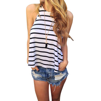 Women T shirt Trendy Striped Tshirt Tops Harajuku Tee Sleeveless Beach tshirts Casual Night Club Clothing CF