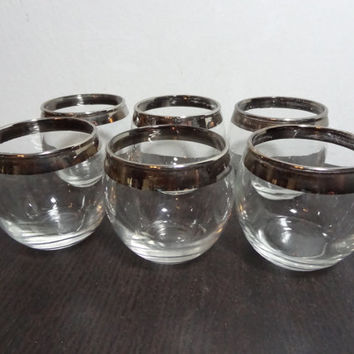 Vintage Small Silver Rimmed Roly Poly Cocktail Bar Glasses/Shot Glasses - 4oz. - Set of 6 - Mid Century Modern - Mad Men Style
