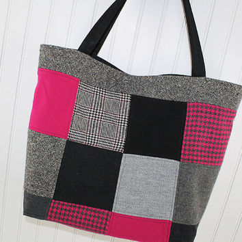 Black and Bright Pink Wool Patchwork Tote Bag, Market Bag, Large Tote Bag, Fold Up Bag, Art Tote Bag, Everything Bag, MK144