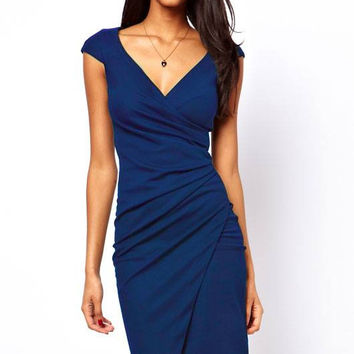 Blue wrap dinner dress