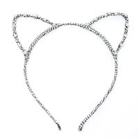 Dani's Choice Rhinestone Cracked Pattern Glittering Cat Ear Headband (Silver)