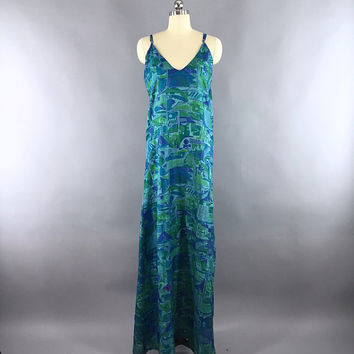 Silk Dress / Vintage Indian Silk Sari Dress / Silk Maxi Dress / Raw Silk / Loungewear Sundress / Blue Abstract Print  / TALL Very Long Dress