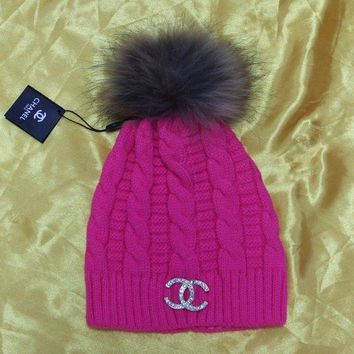Chanel CC Logo Diamonds Fashion Knit Hat Warm Woolen Hat Tagre™