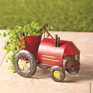 Antiqued Looking Red Old Fashioned Tractor Flower Planter Porch Deck Patio Decor