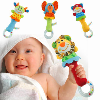 2017 Baby Toys Infant Animal Hand Bell Baby Rattles Hand Plush Stuffed Toy Children Baby Mobiles Sounding Educational Handbell