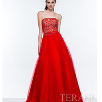 Red Strapless Tulle Ball Gown