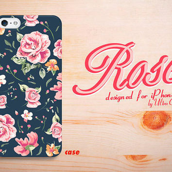 iphone 4 case rose flower black iphone4 case floral by UltraCase