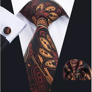 Men's Silk Coordinated Tie Set - Brown & Black Paisley Blend
