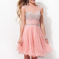 Tony Bowls TS11477 - Salmon Beaded Illusion Prom Dresses Online