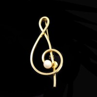 Gold Filled Musical Staff Note Brooch - Signed 1 20th 12K GF AC Music Note Pearlescent White  Pearl Bead Pin Gift for Musician Vintage 1990s