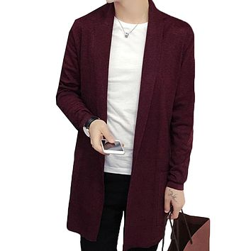 Acquaa Men Shawl Collar Open Front Pockets Casual Long Cardigan