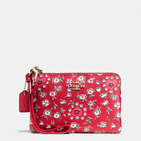 Small Wristlet in Wild Hearts Print Coated Canvas