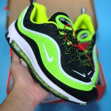 DCCK2 N355 Nike Air Max 98 20th Anniversary Casual Running Shoes Black Fluorescent Green
