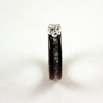 Ebony wood ring with 5mm moissanite and mother of pearl bentwood ring
