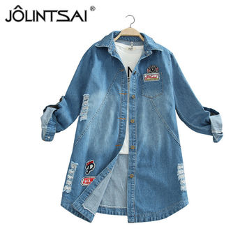 Plus Size S-5XL 2017 Women Autumn Letter Printed Cotton Denim Jacket Vintage Fashion Turn-down Collar Long Sleeve Jeans Coats