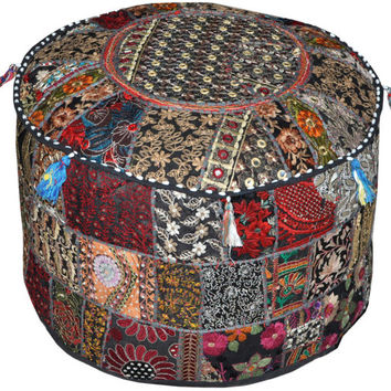 Bohemian Patchwork Pouf Ottoman in Black Vintage Indian pouffe Foot Stool bean bag HANDMADE Ethnic Pouffe Bean Bag Cover floor pillow