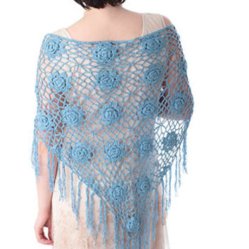 Blue Crochet Fringed Triangle Shawl Wrap