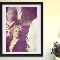 Lady Raven PRINT of a pencil drawing, surreal GICLEE PRINT, purple home decor, surrealism poster, retouched drawn raven, yellow purple decor