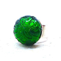 Ring Emerald Green Vintage Glass by GirlBurkeStudios on Etsy