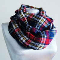 Handmade Tartan Infinity Scarf - Wool - Yellow Red Navy Blue White - Winter Autumn Scarf - Men Unisex Scarf