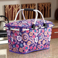 Collapsible Insulated Tote Basket Paisley Cooler Storage Beach Pool Party Sports