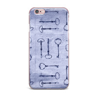 "Marianna Tankelevich ""Secret Keys Blue"" Aqua Navy iPhone Case"