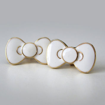 Hello Kitty Bow Earrings - White & Gold