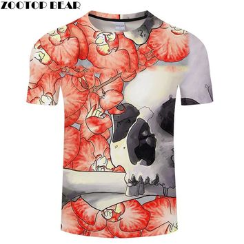 3D t shirt Men Skull Casual Tops Short Sleeve O-neck