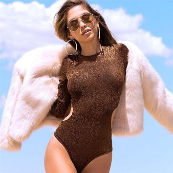 Women Gold Glitter Long Sleeve Rompers Bodysuit Sexy Club Hot Party Hollow Out Bodysuits Bodysuit