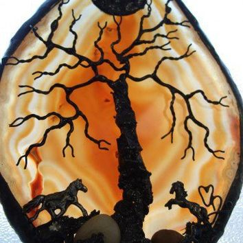 HORSES LEND US THE WINGS WE LACK - - - Brazillian TREE OF LIFE Agate | HeartJCreations - Metal Craft on ArtFire