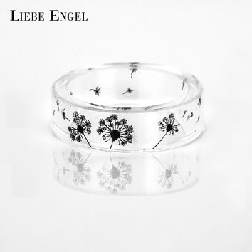 LIEBE ENGEL Dandelion Resin Rings For Women and Men Vintage Jewelry Ink Painting Scenery Inside Epoxy Punk Finger Ring 2017