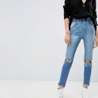 ASOS FARLEIGH High Waisted Slim Mom Jeans With 80's Seam Detail In Mid Wash Blue at asos.com