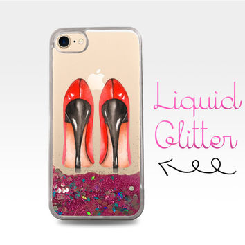 Red High Heels Black Heels Shoes Fancy Cute Liquid Glitter Sparkle Clear Case iPhone 6 Plus + iPhone 6s iPhone SE iPhone 7 iPhone 7 Plus