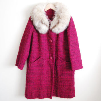 Pink Fluff - Vintage 50s Pink Boucle Coat with Artic Fox Fur Collar