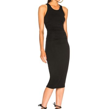 Enza Costa Sheath Tank Side Ruched Midi Dress