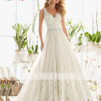 Crystal Elegant Long A Line Wedding Dress  Backless Beading Appliques Vintage