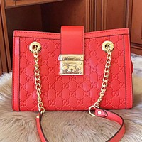 GUCCI Fashion new more letter  leather chain shopping leisure shoulder bag crossbody bag Red