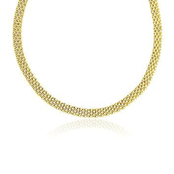14K Yellow Gold Fancy Polished Multi-Row Panther Link Necklace