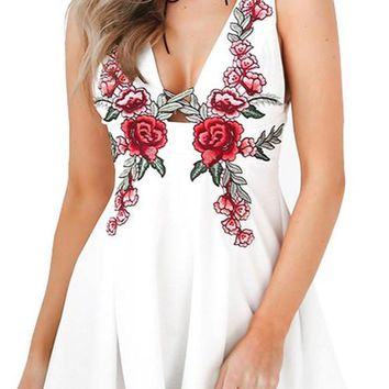 HDY Haoduoyi White Rose Embroidery Plunge Neck A-line Dress Spaghetti Strap Backless Mini Dress Sexy Off Shoulder Women Dress