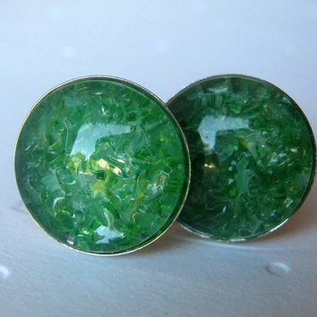 Emerald Cufflinks, Green Cufflinks, Gift for Men, Stained Glass, Round Cufflinks, Crystal Cufflinks, Cufflink Jewelry, Jewelry for Men