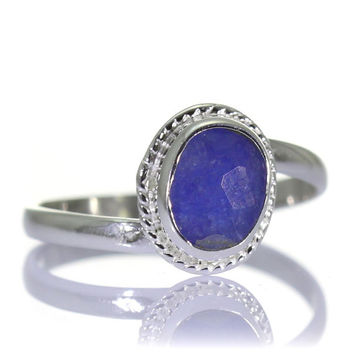 Created Sapphire Ring, 925 Sterling Silver, Unique only 1 piece available! SIZE 7.75 (inner diameter 18mm), color navy blue, weight 1.8g,