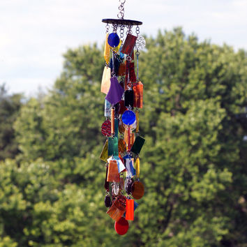 Stained Glass - Colored Glass - Wind Chimes - Sun Catcher - OOAK - Desert Sky