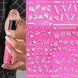 Nail Art Stickers Decal Silver Lace Snowflakes Heart Bow Music Pink Crystal