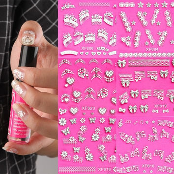 Nail Art Stickers Decal Silver Lace Snowflakes Heart Bow Music Pink Crystal = 1705945668