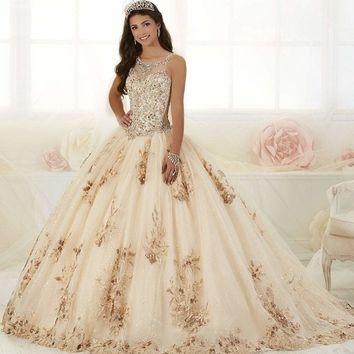 Quinceanera Collection - 26884 Bead Embellished Floral Appliqued Gown